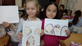 Studying the topic My family, first-graders learned to show emotions in the faces